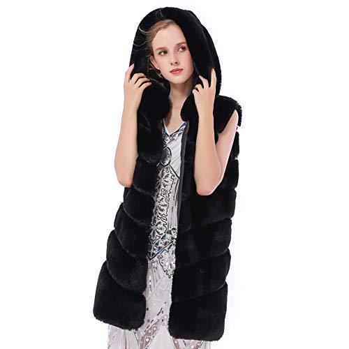 Dikoaina Women's Faux Fox Fur Vest Sleeveless Long Fur Jacket Waistcoat Warm Coat Outwear (L, Rabbit ()