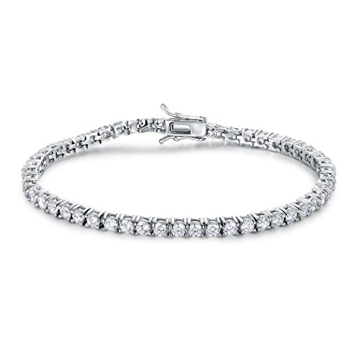 GMESME 18K White Gold Plated Cubic Zirconia Classic Tennis Bracelet 7.5 Inch