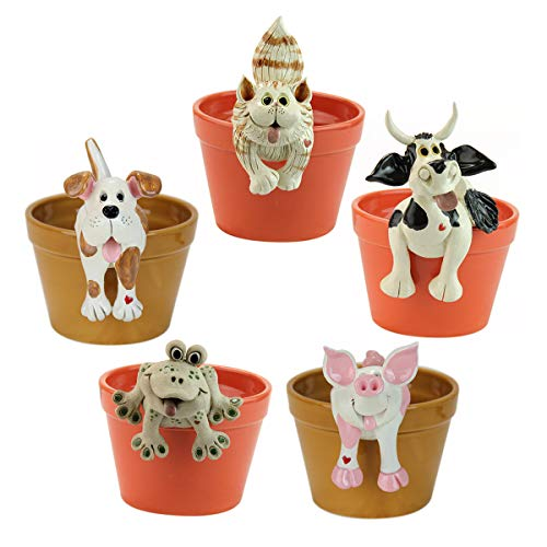 - Exhart 5-Piece Animal Statues Pot Huggers - Set of 5 Animal Pot Huggers in Dog, Cat, Pig, Frog & Cow Designs, UV Treated Resin Decor, Perfect for Garden, Yard and Patio, 2.2