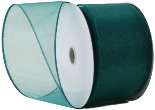 (Wired Edge Organza Ribbon - Teal Roll of Ribbon - 25 yards)