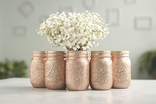 6 Rose Gold Wedding Centerpieces Vases Bulk, Glitter Mason Jars, Bridal Shower, Baby Shower -