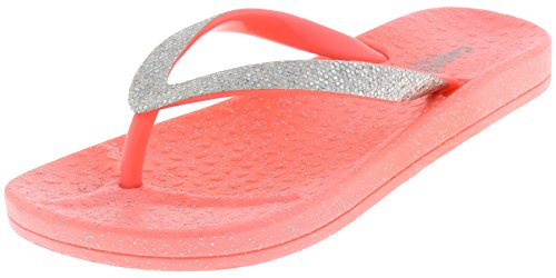 Capelli New York Girls Flip Flops with Disco Dot Trim and All Over Glitter Coral 1/2