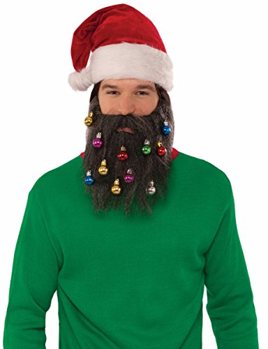 [Forum Men's Brown Santa Beard with Christmas Ornaments, Multi, One Size] (Brown Mustache And Beard Costume)