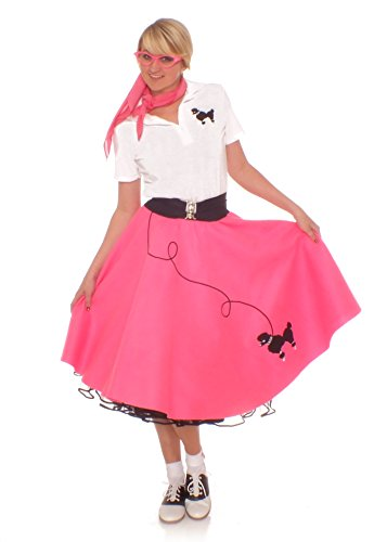 [Hip Hop 50s Shop Adult 7 Piece Poodle Skirt Costume Set Hot Pink Large] (Poodle Skirt Set)