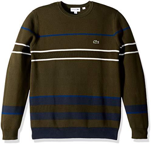 Lacoste Men's Long Sleeve Striped Colorblock Crewneck, Baobab/Meridian Blue/INKW, Large