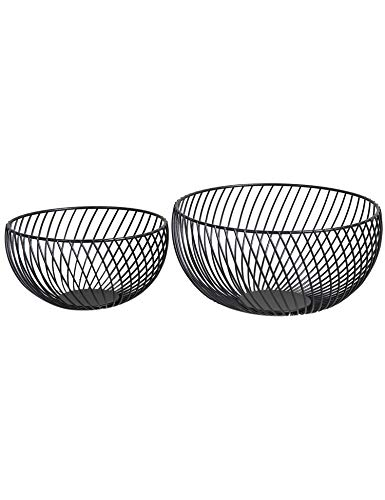 Nakko Handmade Iron Wire Fruit Bowl Basket Holder Stand, Set of 2, Hemisphere Modern Style Table Top Centerpiece for Kitchen Counter, Dining Room, Multi-Storage for Cabinet and Pantry (Matte Black)