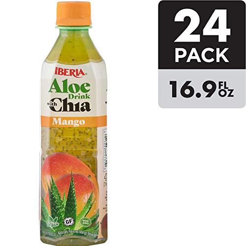 Iberia Aloe Vera Juice Drink with Chia Seeds, Mango, 16.9 Fl Oz (Pack of 24) Fat Free; Gluten Free; Vegan; Non-GMO; BPA-Free (Packaging May Vary)