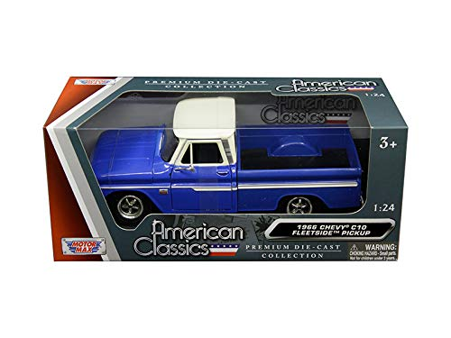 1966 Chevrolet C10 Fleetside Pickup Truck Blue with Cream Top 1/24 Diecast Model Car by Motormax 73355bl/w