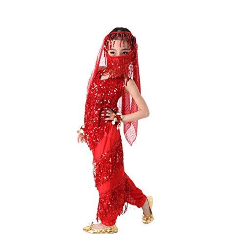 Pilot-trade KID's lovely Belly Dance Costume Danse Shiny Sequins Girl Children Red