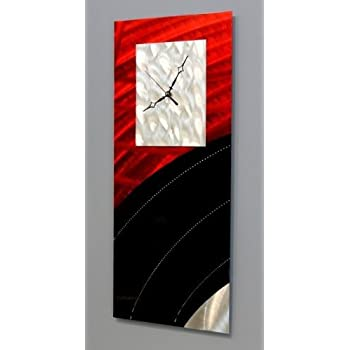 Modern Hanging Decorative Wall Clock Abstract Black and Red Metal Wall Art Decor by Jon  sc 1 st  Amazon.com & Amazon.com: Modern Hanging Decorative Wall Clock Abstract Black and ...