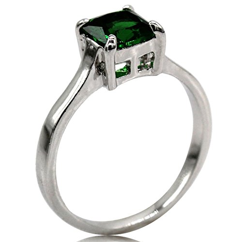 Rhodium Plated Princess Cut Birthstone Solitaire Engagement Ring (May-Emerald, 9)
