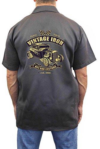 Hot Rod Mens Button Front (SHORE TRENDZ Men's Mechanic Work Shirt Vintage Iron Hot Rod Customs Grey (XXL))