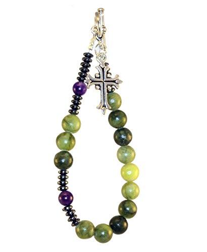 (Irish Connemara Marble and Amethyst Rosary)