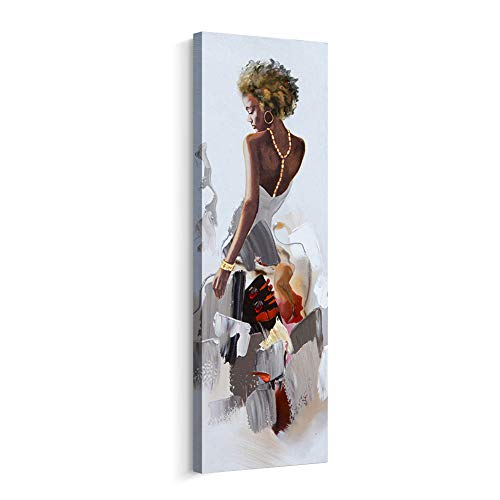 (Artinme Framed African American Black Art Dancing Black Women in Dress Wall Art Painting on Canvas Print Wall Picture for Home Accent Living Room Wall Decor (12 x 36 inch, C) )