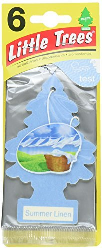 Little Trees Cardboard Hanging Car, Home & Office Air Freshener, Summer Linen (Pack of 24)