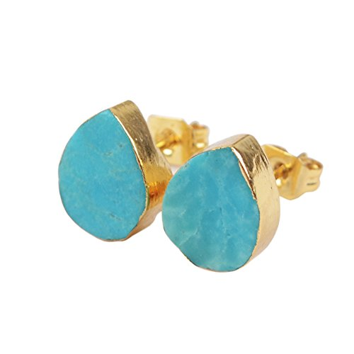 JAB 1 Pair Teardrop Silver Plated Natural Turquoise Post Stud Earrings Jewelry G1319