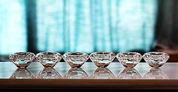 Wedecor 2 Pcs Cristal Fleur Bougie Chauffe-Plat//Lotus Table en Verre Chandelier//D/écoration De La Maison Accessoires F/ête danniversaire D/écor Ornement avec Bo/îte-Cadeau