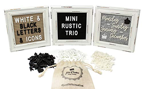 - Mini Rustic Felt Letter Board Farmhouse Trio Changeable Message Boards by Felt Creative Home Goods Vintage Style Frames 3 Pack Bundle Black and White Letter Set Cursive Months Days (6x6)
