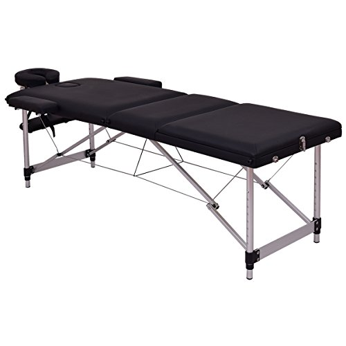 Giantex 72''L Portable Massage Table Aluminum Facial SPA Bed Tattoo w/Free Carry Case (Black) by Giantex