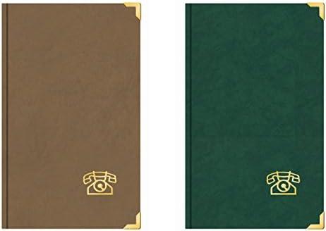 2 Stk. Adress- und Telefonbuch mit 2 Messingecken Braun und Grün