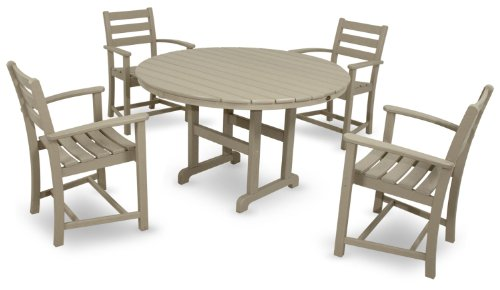 Trex Outdoor Furniture by Polywood 5-Piece Monterey Bay Dining Set, Sand Castle