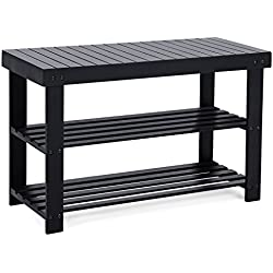 SONGMICS Black Shoe Rack Bench,3-Tier Bamboo Shoe Organizer,Storage Shelf,Holds Up to 264 Lbs, Ideal for Entryway Hallway Bathroom Living Room and Corridor ULBS04H