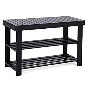 SONGMICS 3-Tier Shoe Bench Organizing Rack Entryway Storage Shelf 100% Bamboo