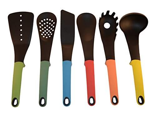 STARBER Kitchen Utensil Set - Modern, Colorful, Silicone Kitchen Utensils - Cooking Utensil Set with Turner, Slotted Spatula, Ladle, Solid and Slotted Spoon and Spaghetti Server