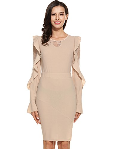 ANGVNS Women Long Sleeve Lace Patchwork Pencil Chiffon Dress Cocktail Party Dress(Apricot,Small)