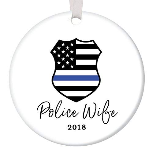 Keepsake Police Officer (Police Wife Ornament 2018 Christmas Tree Ceramic Collectible Holiday Present for Female Officer Spouse Mate Partner from Husband Hubby Flat Porcelain Keepsake)