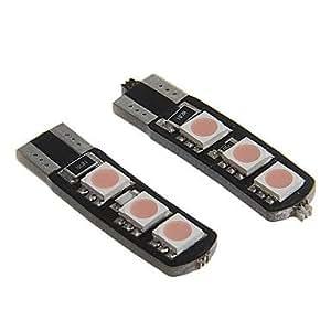 DK T10 1W 80LM 6-SMD 5050 LED Pink Light for Decoded Car Instrument/License Plate Lamp (DC12V 2PCS)