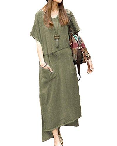 Jacansi Women Beach Boho Split Oversize Kaftan Maxi Dress with Pocket Green (Canvas Womens Dress)