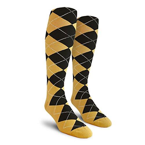 Argyle Golf Socks: Over-the-Calf - Gold/Black - Mens (Mens Argyle Golf Socks)