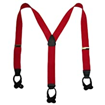 CTM® Men's Tall Elastic Button-End Y-Back Suspender with Bachelor Buttons, Red