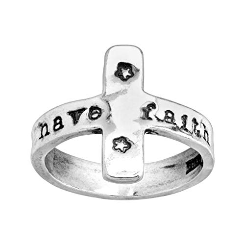 (Silpada 'Have Faith' Engraved Cross Ring in Sterling Silver)