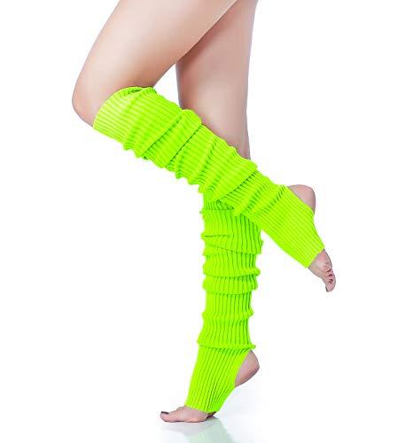 Long Leg Warmer, V28 Women's Men 80s Party Ribbed Knit Dance Sports (71 Flu)