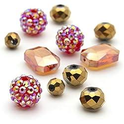 Cousin DIY 34716113 Shamballa and Glass Bead Mix, Red