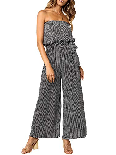 Miessial Women's Summer Sexy Tie Romper Off Shoulder Strapless Casual Jumpsuit Wide Leg Pants Jumpsuit - Strapless Jumpsuit