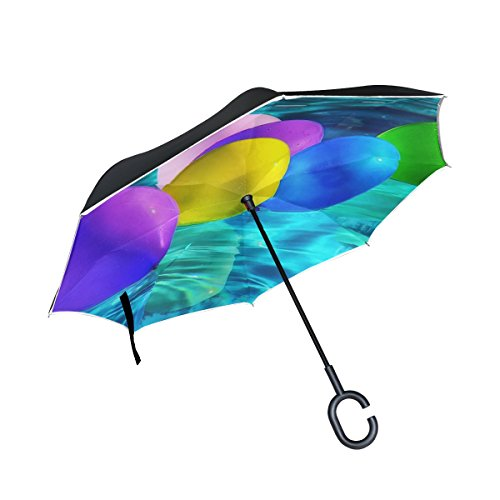 Double Layer Inverted Balloons Colorful Ballons Color Water Pool Drive Umbrellas Reverse Folding Umbrella Windproof Uv Protection Big Straight Umbrella For Car Rain Outdoor With C Shaped Handle