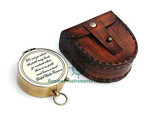Roorkee Instruments India Ralph Waldo Emerson Do not go Poem Compass with Hand Made Leather Case