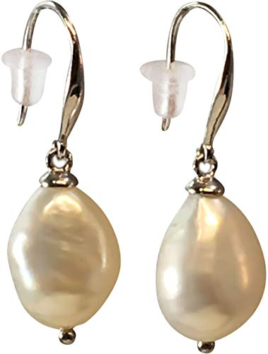 Chinese Cultured Pearl - HinsonGayle AAA Handpicked 9-9.5mm White Baroque Freshwater Cultured Pearl Dangle Earrings Silver
