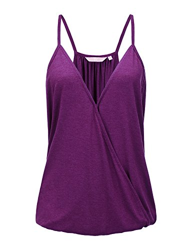Regna X Love Coated Women Plum Plus Size Sleeveless Floral Chiffon Vest Cami (Floral Plum)
