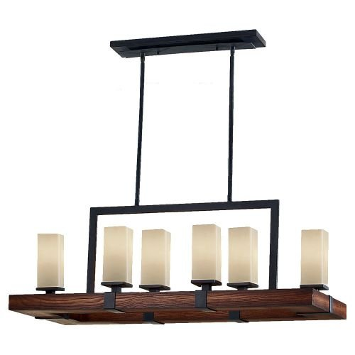 Murray Feiss F2592/6AF/AGW, Madera Chandelier Lighting, 360 Total Watts, Antique Forged Iron/Aged (Aged Walnut Pendant)