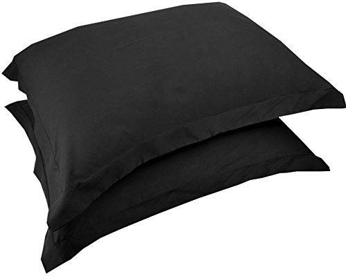 - Mezzati Luxury Shams Set of 2 - Soft and Comfortable 1800 Prestige Collection - Brushed Microfiber Bedding(Black, Set of 2 Standard Size Shams Size)