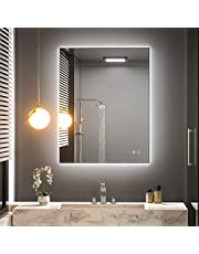 Keonjinn 36 x 28 Inch Bathroom LED Mirror Backlit Wall Mounted Makeup Mirror Anti-Fog Vanity Mirror with Lights (Horizontal/Vertical)