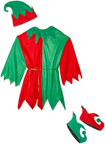 Fun World Costumes Men's Adult Promotional Elf Set. Hat Tunic Shoes, Red/Green, One Size]()
