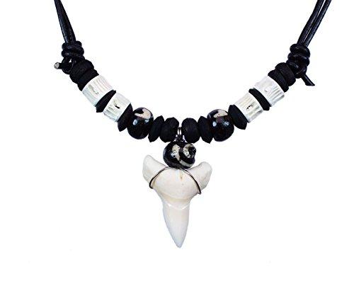 Exoticdream Shark Tooth Black Beads White Bones Necklace Handmade Hawaiian Style Beach Boy Jewelry - (Surfer Shark Costume)