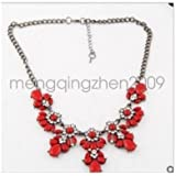Red - Women Bohemia style Statement Bib Pendant Flower Choker Chunky Necklace Jewelry