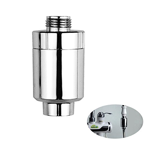 Aolvo Slim-line Shower Filter, Plating ABS Portable Shower Purifier Filter with Quadruple Filtration System, Travel Tap Shower Head Replacement Filter for Shower by Aolvo
