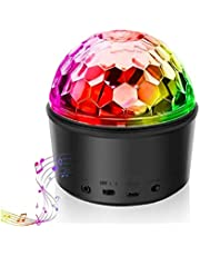 Disco Ball Light Bluetooth Speaker DJ Party Light 9 Colours 9W Disco Ball Projector Stage Lights Strobe Club Mirror Ball Rotating lights Effect Magic Mini LED Wireless Phone Connection with Remote Control for Home Kids Party Karaoke Wedding Decorations